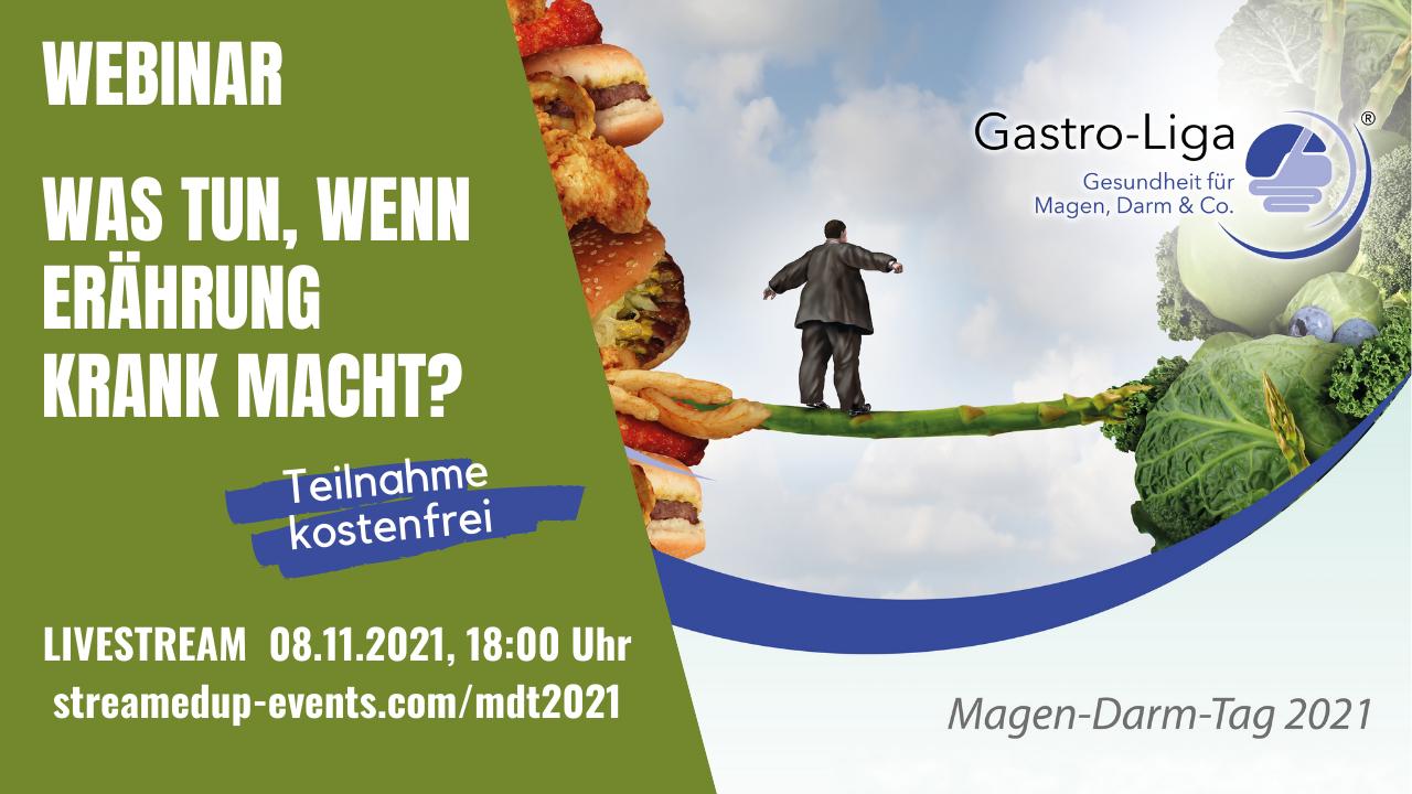 """Banner für Webinar """"Was tun, wenn Ernährung krank macht?"""" Livestream 08.11.2021, 18 Uhr"""
